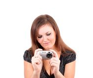 Young woman photographs. Stock Photography