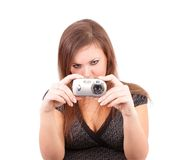Young woman photographs, isolated royalty free stock photography