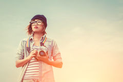 Young woman photography using a camera to take photo Royalty Free Stock Photo