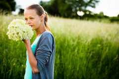Young woman picking elderflower stock photos