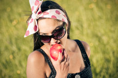Young woman during the picnic Royalty Free Stock Photography