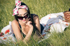 Young woman during the picnic Stock Images