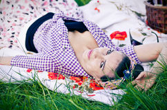 Young woman during the picnic Royalty Free Stock Images