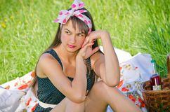 Young woman during the picnic Royalty Free Stock Photo