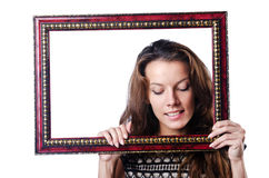 Young woman with picture frame Royalty Free Stock Images