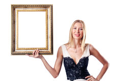Young woman with picture frame Stock Image