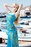 Young woman on pier Royalty Free Stock Photography