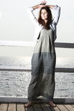Young woman on the pier Royalty Free Stock Photography