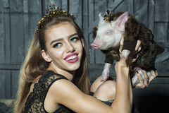 Young woman and pig stock photos