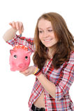 Young woman  with piggy bank Stock Photo