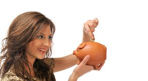 Young woman with piggy bank Stock Image