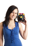 Young woman piggy bank shoulder Royalty Free Stock Photos