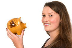 Young woman with piggybank Royalty Free Stock Photo