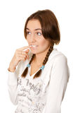 Young woman with pigtails bewildered Stock Photos
