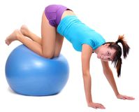 Young woman with pilates ball. Stock Photography