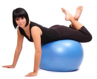 Young woman with pilates ball. Stock Photo