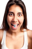 Young woman with a pill Stock Photos