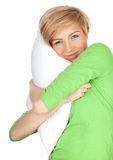 Young woman with pillow Stock Image