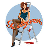 Young woman pin-up with a paint roller. Vector illustration.  Royalty Free Stock Photos