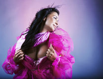 Young Woman On Pink Background Royalty Free Stock Image