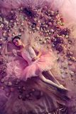 Young woman in pink ballet tutu surrounded by flowers royalty free stock image