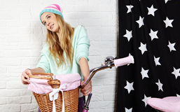 Young woman with pink  bike Stock Photo