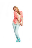 Young woman with pink cardigan Stock Photo