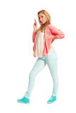 Young woman with pink cardigan Stock Photography