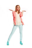 Young woman with pink cardigan Royalty Free Stock Photography