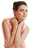 Young woman in pink dress Stock Photos