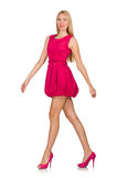 The young woman in pink dress isolated on white Stock Photo
