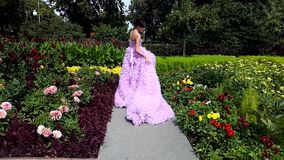 Young woman in a pink dress with a long train posing. In park stock video