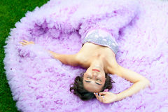 Young woman in a pink dress Royalty Free Stock Images