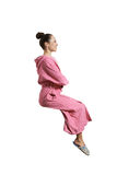Young woman in pink dressing gown Stock Image