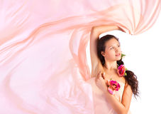 Young woman with pink fabric Royalty Free Stock Photography