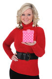 Young Woman With a Pink Gift Box 01 Stock Photos