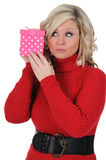 Young Woman With a Pink Gift Box 03 Royalty Free Stock Image