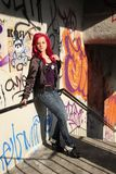 Young woman with pink hair stock photo