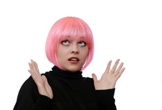 Young woman with pink hairs Royalty Free Stock Image