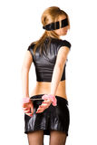 Young woman with pink handcuffs stock photos