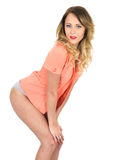 Young Woman Pink Jacket and Lingerie Royalty Free Stock Photos