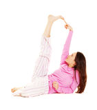 Young woman in pink pajamas Stock Photos