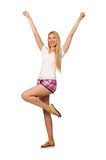 The young woman in pink plaid shorts isolated on white Stock Photography