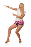 The young woman in pink plaid shorts isolated on white Stock Photo
