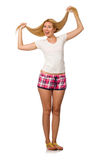 The young woman in pink plaid shorts isolated on white. Young woman in pink plaid shorts isolated on white Stock Photography
