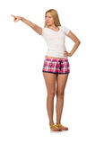 The young woman in pink plaid shorts isolated on white Royalty Free Stock Photography