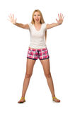 The young woman in pink plaid shorts isolated on white Royalty Free Stock Photos