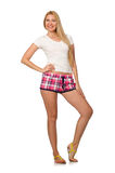 The young woman in pink plaid shorts isolated on white Stock Photos