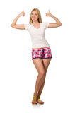Young woman in pink plaid shorts isolated on white. The young woman in pink plaid shorts isolated on white Stock Image
