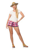 The young woman in pink plaid shorts  on white Royalty Free Stock Photos